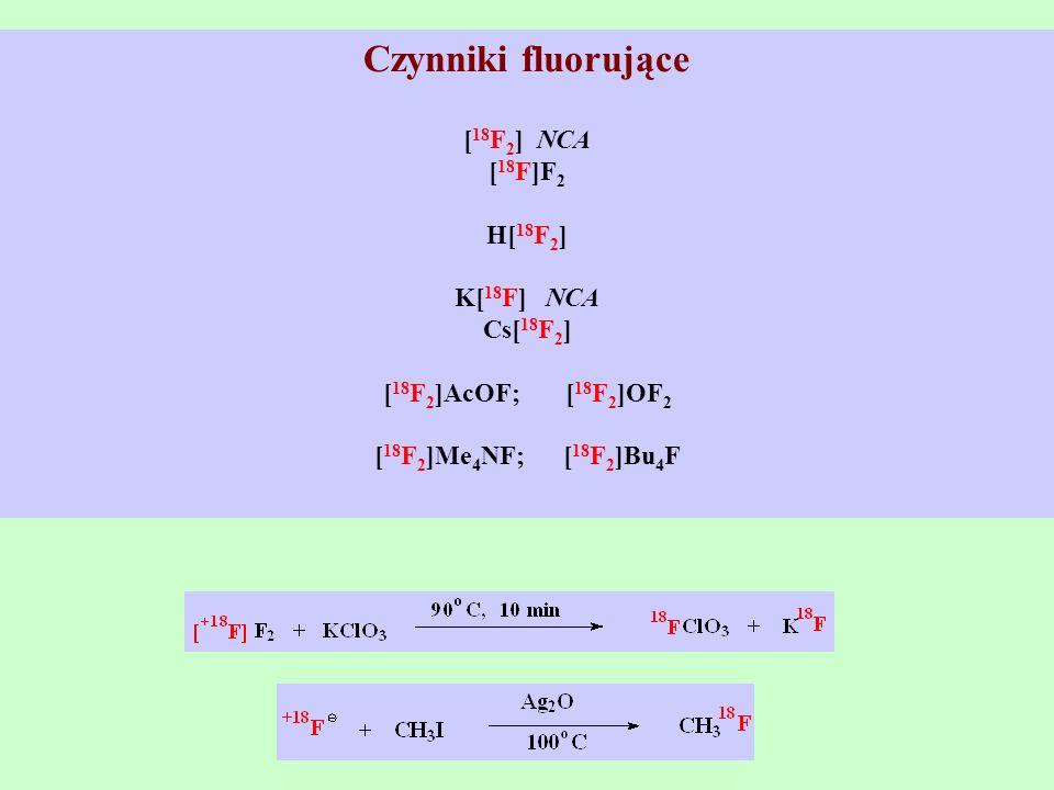 Czynniki fluorujące [18F2] NCA [18F]F2 H[18F2] K[18F] NCA Cs[18F2]